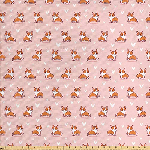 Ambesonne Dog Lover Fabric by The Yard, Little Corgi Jumping Running and Standing Cartoon Hearts Background, Decorative Fabric for Upholstery and Home Accents, 1 Yard, Coral Orange White