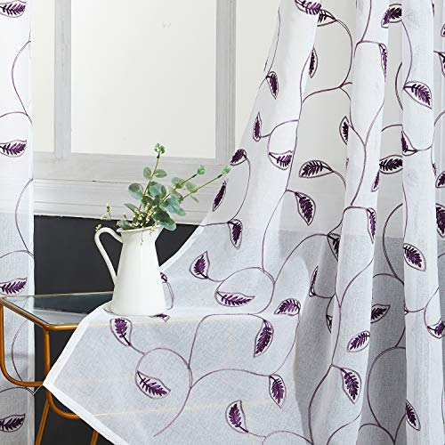 (Top Finel White Sheer Curtains 84 Inches Long Purple Embroidered Leaves Grommet Window Curtains for Living Room Bedroom, 2 Panels)