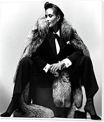Johnson Wool Pants - Beverly Johnson Wearing A Pantsuit and Fur Coat by Albert Watson, Vogue, October 1st, 1977, Canvas Print