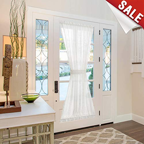 French Door Curtain Panel Linen Look French Door Panels 72 inch White Sheer Curtains for French Doors, Tieback Included, Sold ()