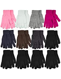 Gelante 6-12 Pairs Adult Winter Knitted Magic Stretch Gloves (12 Pairs Assorted: Bright Color)
