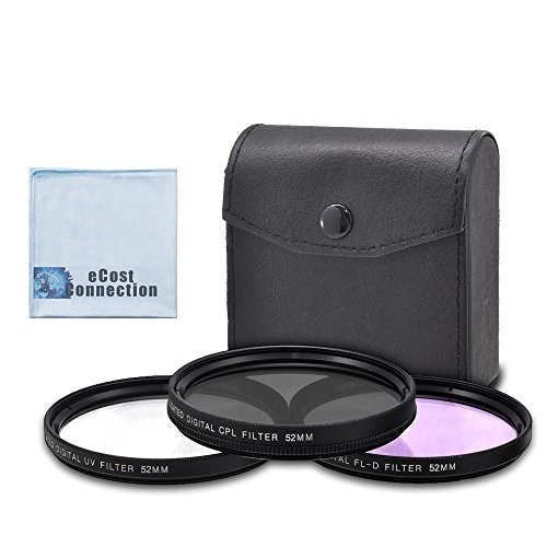 52mm High resolution Pro series Multi Coated HD 3 Pc. Digital Filter Set for Sony HDR-PJ790, FDR-AX33, HDR-PJ790, HDR-CX760E and More Lens Models + eCost Microfiber Cloth
