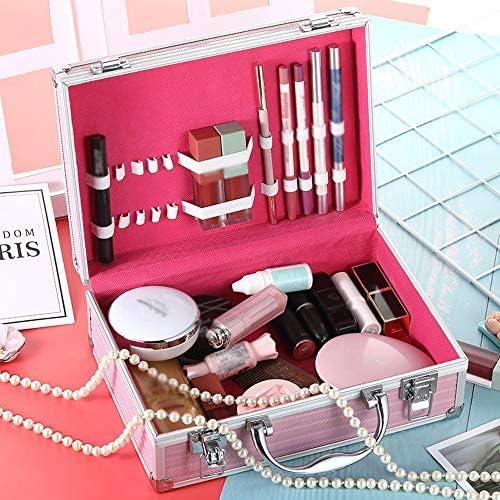 化粧品袋 大型宇宙防水メイクロックの女性とボックストラベルコスメティック 旅行化粧収納ボックス (Color : Pink, Size : 25x9x16cm)