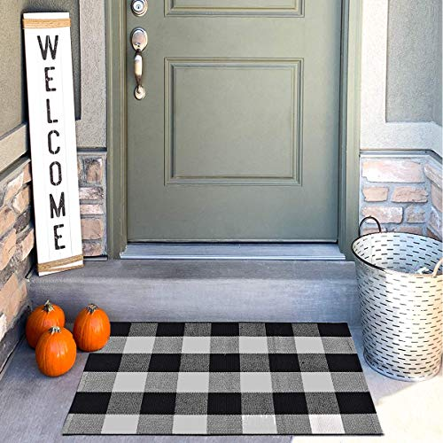 "Buffalo Check Outdoor Rug(35.4""x23.6""), LIFEI Farmhouse Doormat Buffalo Plaid Check Rug Black White Layered Double Door Mats Welcome Front Porch Decor for Front Door,Bedroom,Entryway,Kitchen"