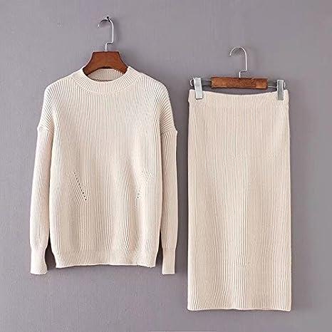 SZYL-Sweater Oto/ño e Invierno de la versi/ón Coreana del su/éter de Cuello Redondo Falda Media Falda Traje de la Falda