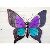 Metal Wall Art Butterfly With Blue and Purple Glass look Wings Bronze Finish, Garden & Home