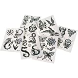Temporary Black and Silver Tattoos 12 Pack