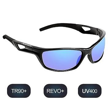 Polarisierte Sportbrille Sonnenbrille Fahrradbrille mit UV400 Schutz für Damen und Herren Autofahren Laufen Radfahren Angeln Golf TR90 (Black/BlackRed) pqj15L