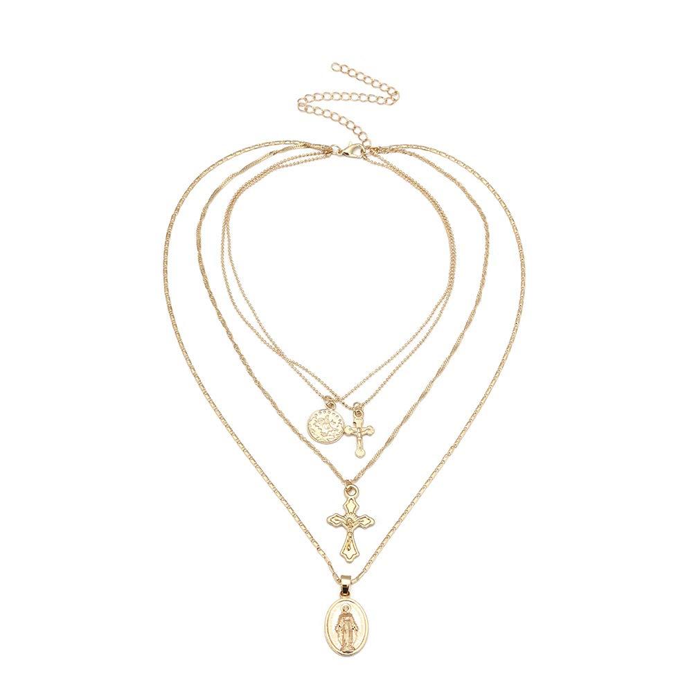 BESTOYARD 3 Layered Anhä nger Halskette Kreuz Charm Choker Religion Halskette fü r Frauen Mä dchen (Gold)