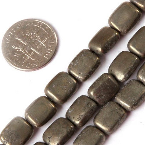 GEM-insid Natural 8X10mm Rectangle Silver Gray Pyrite Gemstone Energy Stone Strands Loose Beads for Jewelry Making Jewelry Beading Supplies for Women