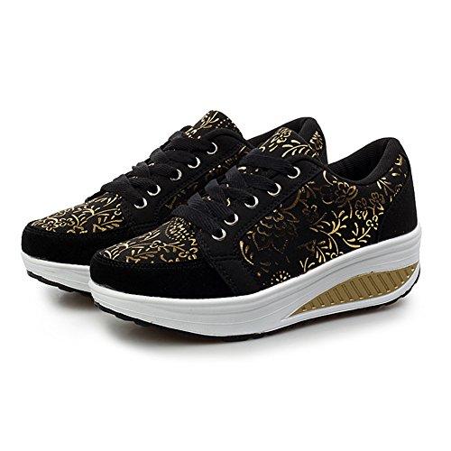Damesplatform Wandelschoenen Sneaker Hardloopschoenen Zwart