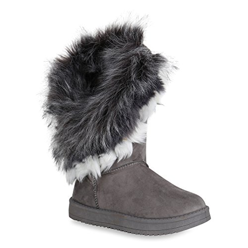 Stiefelparadies Damen Schlupfstiefel Kunstfell Warm Gefütterte Stiefel Winter Boots Profilsohle Wildleder-Optik Schuhe Flandell Grau