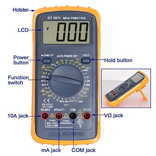 OLSUS DT-5811 LCD Handheld Digital Multimeter for Home and Car - Gray by OLSUS (Image #5)