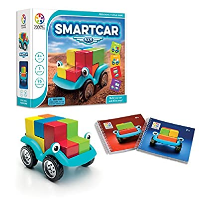 SmartGames Smart Car 5 x 5 Wooden Cognitive Skill-Building Puzzle Game Featuring 96 Playful Challenges for Ages 4+: Toys & Games