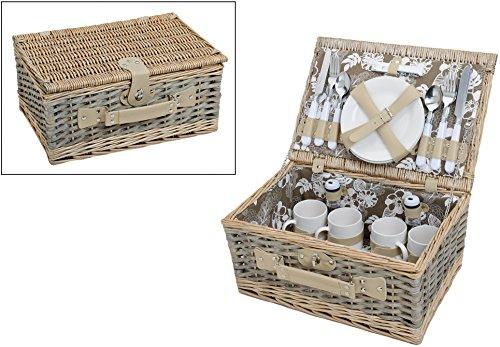 Picknickkorb-grn-wei-mit-Blumenmuster-Picknickset-fr-4-Personen-24-Teile