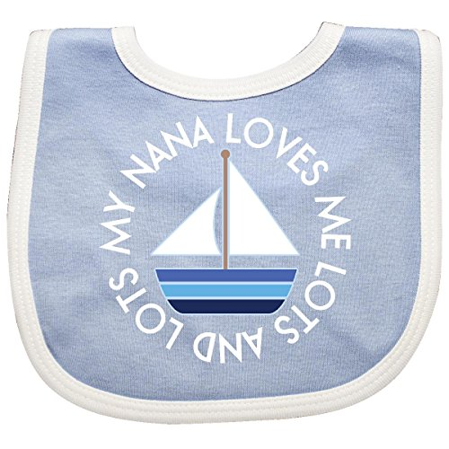 - Inktastic - My Nana Loves Me Sailboat Boys Baby Bib Blue/White 292c4