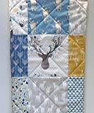 Woodland Baby Boy Quilt Rustic Crib Bedding, Buck and Antlers