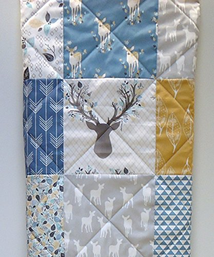 Woodland Baby Boy Quilt Rustic Crib Bedding, Buck and Antlers by Now and Then Quilts