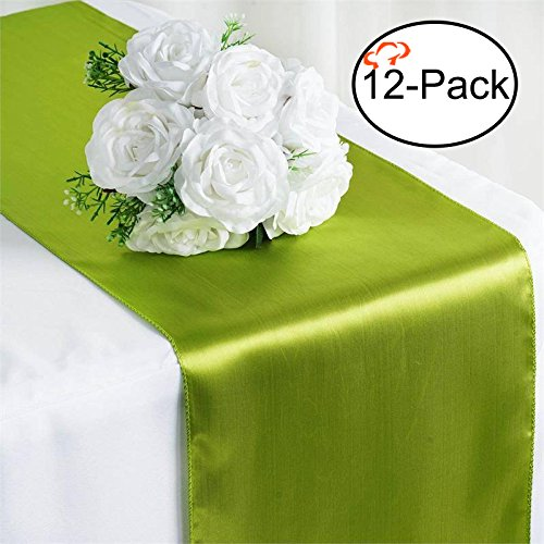 Tiger Chef 12-Pack Tea Green 12 x 108 inches Long Satin Table Runner for Wedding, Table Runners fit Rectange and Round Table Decorations for Birthday Parties, Banquets, Graduations, Engagements (Centerpiece Size For 72 Inch Round Table)