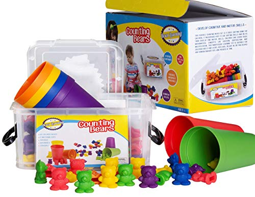 Counting/Sorting Bears Toy Set with Matching Sorting Cups in Storage case - Best Fun Educational Toy for Kids Ages 3 and up - for Learning, STEM Education, Mathematics, Counting & Sorting Toys