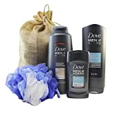 Cheap Dove Men + Care Gift Set with Large Full Size Shampoo + Conditioner, Body and Face Wash, Deodorant, and Body Pouf in Gift Bag (Clean Comfort)