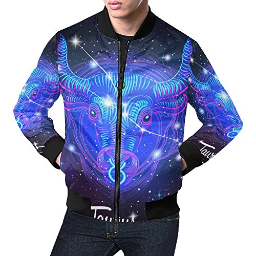 Constellation Zodiac Sign Taurus Men's 3D Printed Full Zip Casual Jacket