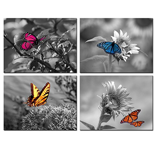 Butterfly Large Poster - Biuteawal - 4 Panel Art Wall Decor Color Butterfly on Sunflower Picture Black and White Wall Art Flower Prints Posters Contemporary Canvas Artwork Framed Gallery Wrapped for Offical Home Decorations