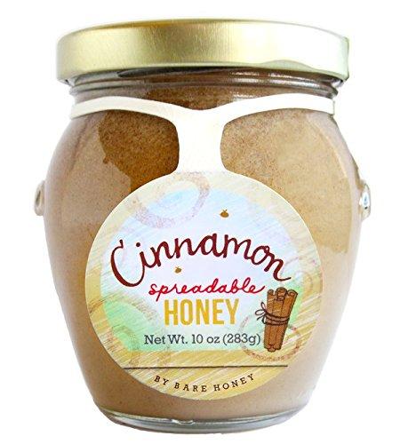 Bare Honey, Raw Spreadable Honey, 10 ounce Glass Honeypot (Cinnamon) ()