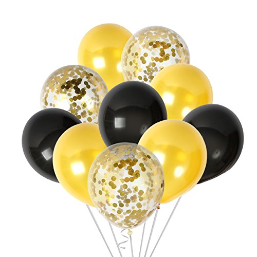 Black and Gold Confetti Balloons Party Decorations for Birthday Retirement Birdal Shower Congrats Graduation Supplies Wedding Anniversary -