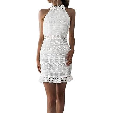 655d4cb29cb Ansenesna Kleid Damen Sommer Knielang Festlich Spitze Elegant Mini  Cocktailkleid Kurz Party A Linie V Ausschnitt Für Hochzeit Weiß  Amazon.de   Bekleidung