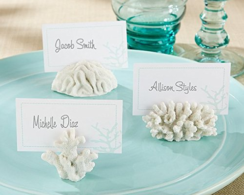 Christmas Tablescape Decor - Seven seas white faux coral place card holders - Set of 6 by Kate Aspen