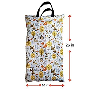 The Stink Trap XL   PUL wet-bag for up to 30 cloth diapers (2-3 days)   16x26in   (Woodland Friends)