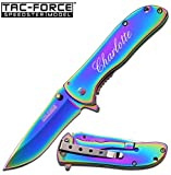 GIFTS INFINITY Free Engraving - Tac - Force Titanium Coated Stainless Steel Quality Pocket Knife (Rainbow 861RB)