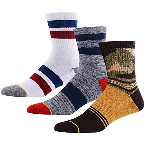 Mens 3 Stripe Quarter Sock - Funky Hiking Socks Mid Calf, MEIKAN Funny Crazy Blister Resist Quarter Athletic Running Crew Dress Socks for Men 3 Pack