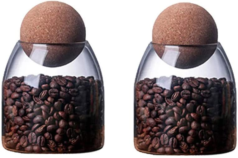 Glass Jar with Airtight Seal Wood Lid Ball Jar Food Storage Container Clear Candy Jars Food Storage Canister Sugar Coffee Tea Beans Spice Salt Storage 2 PSC 500 ML
