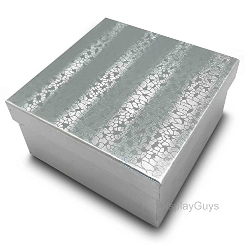 (The Display Guys, Pack of 25 Silver 3 3/4x3 3/4x2 inches Cotton Filled Paper Jewelry Box Gift Display Case(#34))