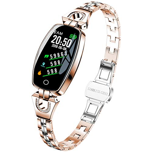 Women's Smart Watch, Pard Fashion Heart Rate Blood Pressure Activity Fitness Tracker, Gold ()