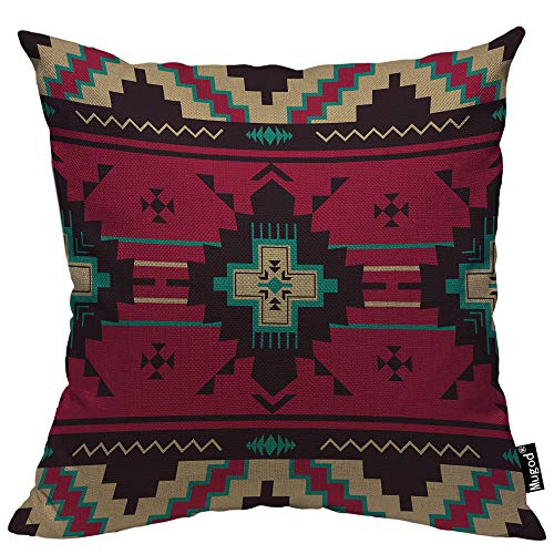 Mugod Ethnic Pattern Pillow Cover Native Southwest American Indian Aztec Navajo Print Decorative Throw Pillow Cases Cotton Linen Indoor Square Cushion Covers 18x18 Inch for Home Sofa Couch ()