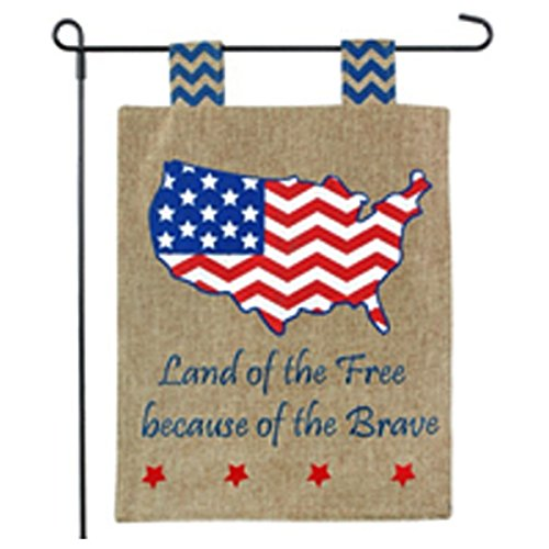 America Garden Flag - Land of the Free, Home of the Brave -