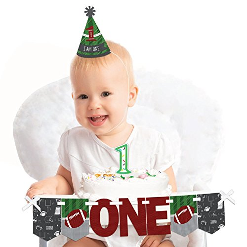 Big Dot of Happiness End Zone - Football - 1st Birthday Boy Smash Cake Decorating Kit - High Chair (Everything One Girl Cone Hats)