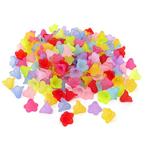 Honbay 200PCS 14mm Assorted Color Frosted Trumpet Flower Beads Acrylic -