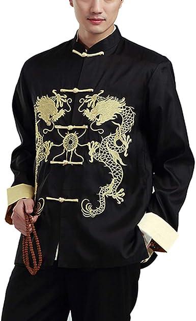 Hombre Chaqueta Traje Tang Chino Trajes Bordado Manga Larga Artes Marciales Kung Fu Uniformes Camisa: Amazon.es: Ropa y accesorios