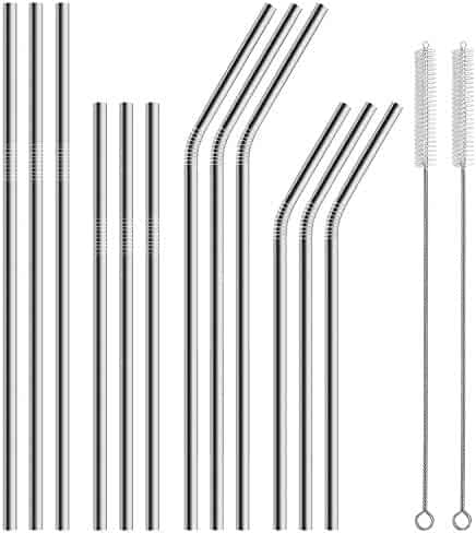 Hiware 12-Pack Stainless Steel Metal Straws Curved with 2 Cleaning Brush - Reusable Drinking Straws For 30oz / 20oz Tumblers Yeti