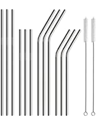 Hiware 12-Pack Stainless Steel Metal Straws with 2 Cleaning Brush - Reusable Drinking Straws For 30oz / 20oz Tumblers Yeti
