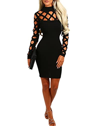 Wuxh Women's Sexy Long Sleeve Hollow Out Cocktail Clubwear Party Mini Bandage Bodycon Dress Cocktail Dress