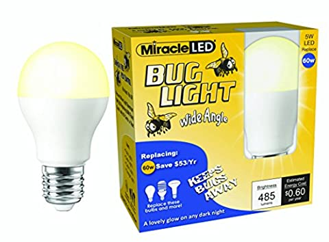 MiracleLED 606823 Outdoor Porch/Patio/Deck/Entry Way Wide Angle Yellow Bug 60W Replacement Light Bulb (2 - Yellow Cfl
