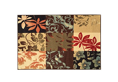 Kapaqua Rubber Backed Mat 18'' x 32'' Italian Floral Panel Boxes Brown Multicolor Doormat Accent Rug - Rana Collection Kitchen Dining Living Hallway Bathroom Pet Entry Rugs RAN2029-12 by Kapaqua