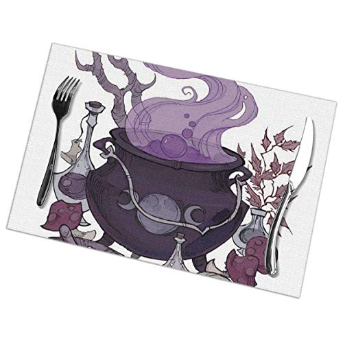 Nice Music Cauldron Wicca Wiccan 6 Piece Set of Placemats Pc Party Kitchen Dining Room Home Table Place Mat Patio Holidays Decorations Decor Ornament Themed Print Pattern Kid Girls