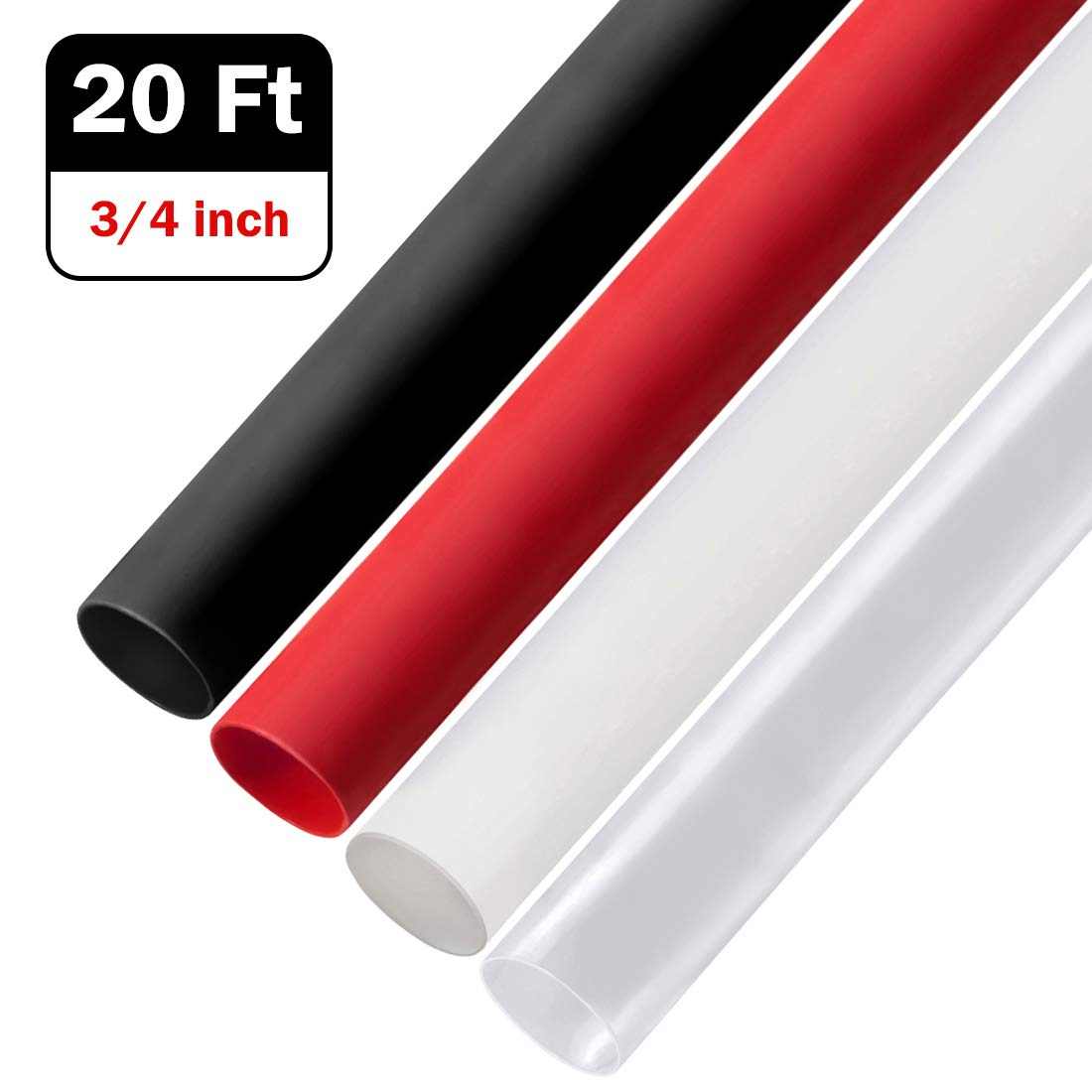 """//adhesive lined 3:1 2×5ft 3//4/"""" Dual Wall Heat Shrink Tubing Assortment Black/&Red"""