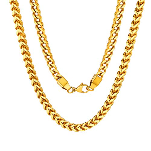 18K Gold Chain for Men Franco Square Box Link Necklace Gold Plated ()